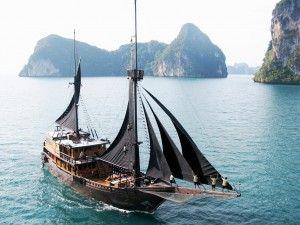 Pinisi Boat in Raja Ampat, Papua, Indonesia