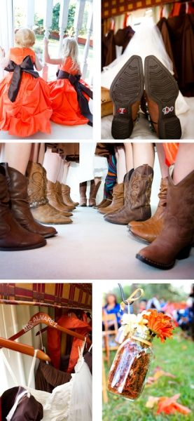 Country Fall Wedding Photos-- pay attention to detail to capture your seasonal wedding <3 Autumn Leaves .. Country Wedding  . Boots & Bows! Fall Wedding Theme for Country Wedding, Boots with bridesmaid dresses