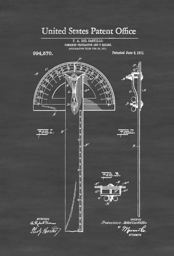 Protractor T-Square Poster Print Architect Gifts Drafting Tools Carpenter Gifts