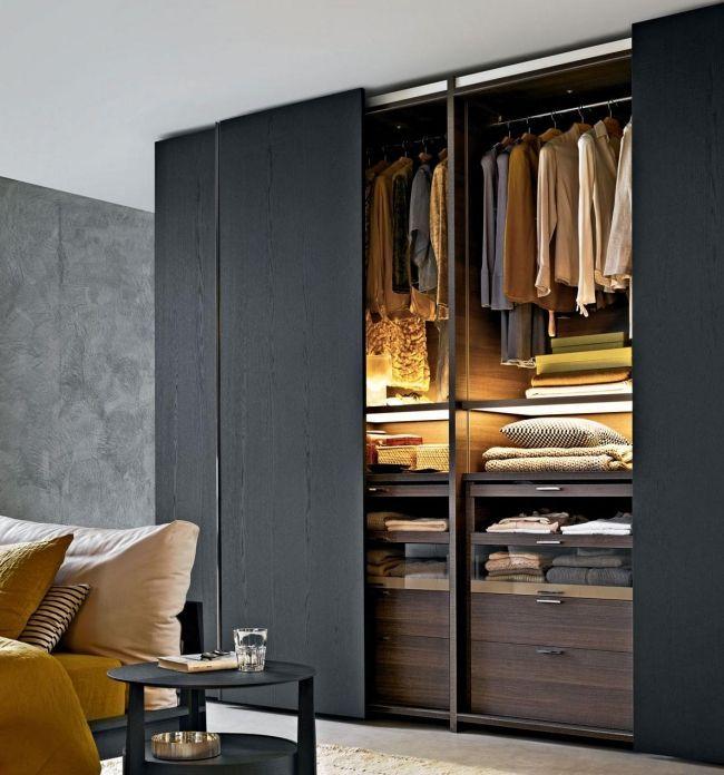 Kleiderschrank Mit Schiebeturen Schwarz Holz Ordnungssystem