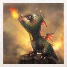 This is my favorite baby dragon.  I can just about imagine him hanging around the house with me........