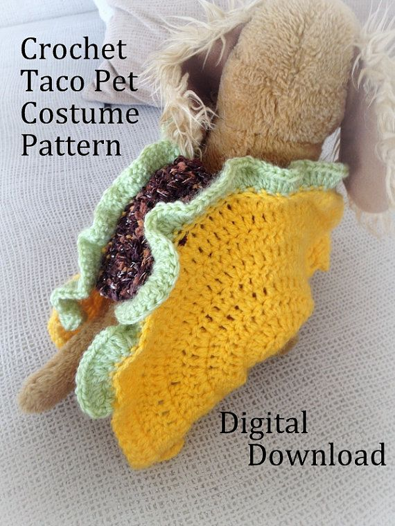 Taco Cat Crochet Pet Costume Pattern: photo illustrated instruction to crochet your own taco cat (or small dog) costume