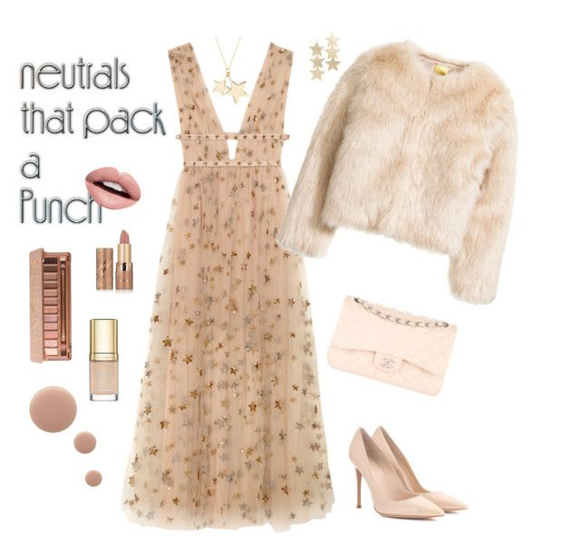 """""""Neutrals-starry night"""" by suzyana ❤ liked on Polyvore featuring Valentino, Gianvito Rossi, Chanel, Latelita, Adia Kibur, Urban Decay, tarte, Nevermind, Dolce&Gabbana and Nails Inc."""