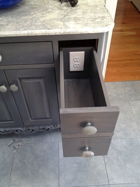 Rustic Gray Cabinets: Kitchen: and a list of things to consider havng installed when you build your home (outlets in closets, venting away from where curtains hang, audio wired outside, plumbing considerations).