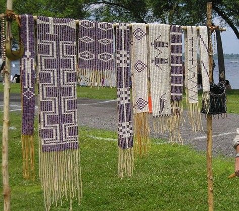 I look at these gorgeous wampum belts and marvel at those who made these beads. I live in a place with quahog shells and I can't imagine doing it by hand