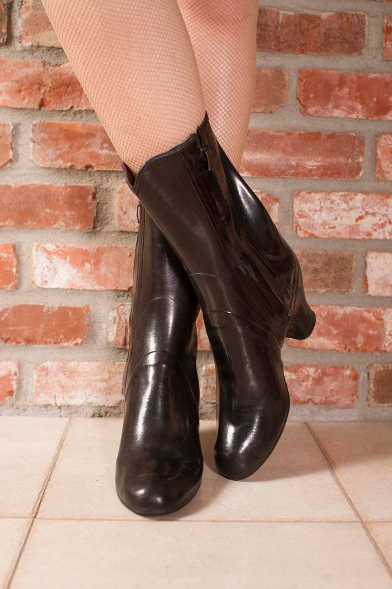 Vintage 1940s Boots Shiny Black Rubber Shoe Cover