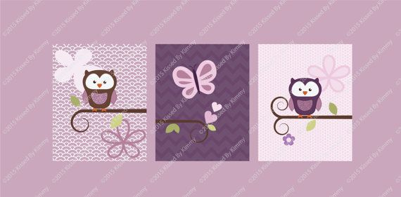 Owls in the Meadow  Purple Owl baby bedding by KissedByKimmyDesign