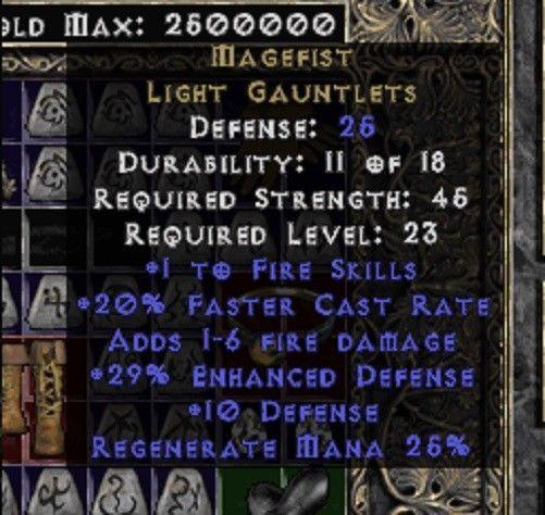 MageFist Diablo 2 Lord of Destruction Non Ladder Legit Light Gauntlets