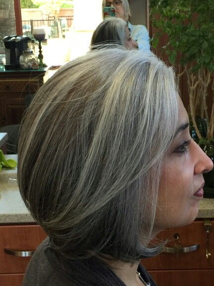 Gray hair Grey hair Bob style haircut After months of ...