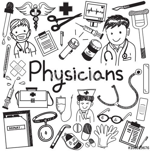 Vector: Physician doctor and other medic professions doodle cartoon icons of people medicines tools sign and symbol in white isolated paper background for health presentation or title, create by vector