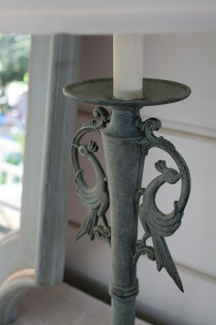 Verdigris finish on metal lamps using Provence and Olive Chalk Paint®