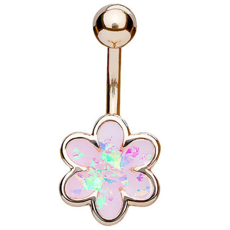 Bauchnabelpiercing Schmuck Secker Opal Glitter Blume