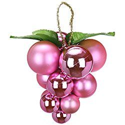 "Sea Team Solid Color Christmas Grape Bunches Clusters Strings Ornaments 13ct Multicolor-choice Festive Grapes Hanging Ornaments in Assembled Dimension of 1.18"", 1.57"" & 1.96""(Pink)"