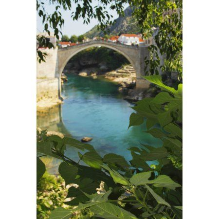 Stari Most Or Old Town Bridge Over The River Neretva Mostar Muslim-Croat Federation Bosnia and Herzegovina Canvas Art - Trish Punch Design Pics (24 x 38)