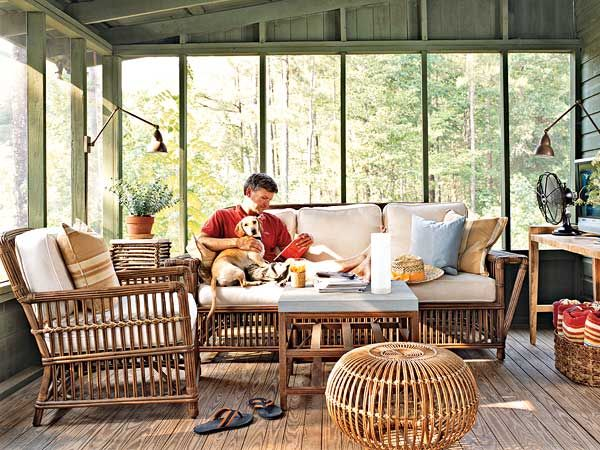 Beautiful A Screened Porch Lives Like An Indoor Room With Cozy Cushioned Furniture, A  Tabletop Fan