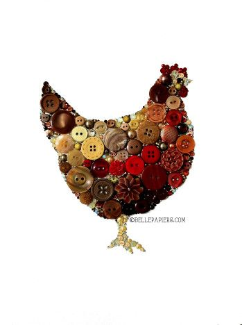 Kitchen Art Hen or Rooster Button Art