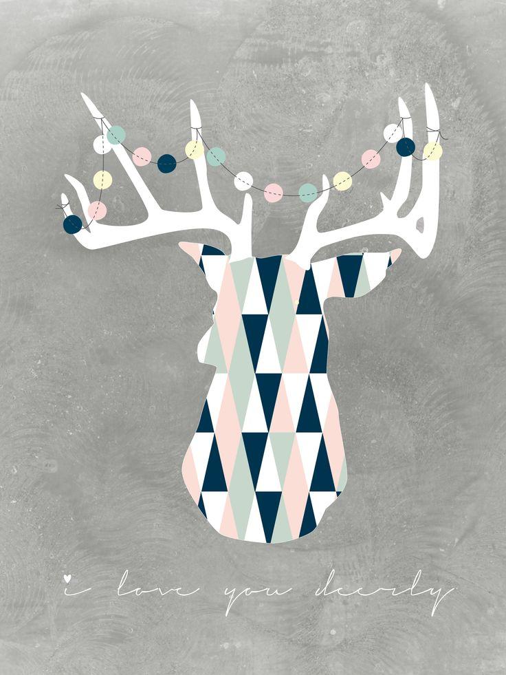 #Poster #grafiskt tryck #rådjur #deer #girland #retro  I love you deerly