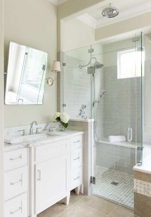 Beautiful Bathroom Features Walls Painted Tan Lined With A