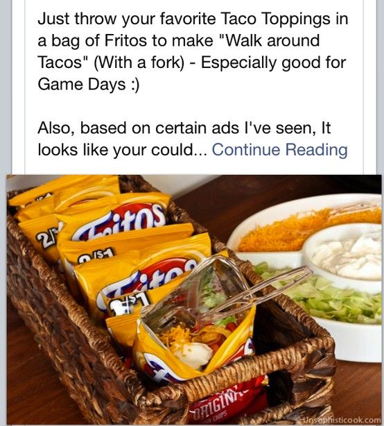 Walking Tacos : unsophisticook #tailgate Re-Pinned by your friends at http://www.wildcatsportsapparel.com/ Go Wildcats!