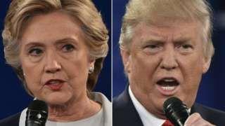 Image copyright                  AFP                  Image caption                                      Clinton y Trump aspiran a suceder a Obama en la Casa Blanca.                                Las primeras proyecciones de resultados de la cadena ABC, todavía muy preliminares, le dan a Donald Trump los 24 votos electorales de Indiana (11), Kentucky (8) y Vir