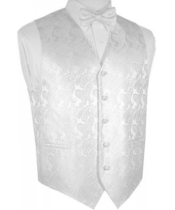 69f1a52d63b Men s Paisley Dress Vest Bow Tie Set For Suit or Tuxedo - White ...