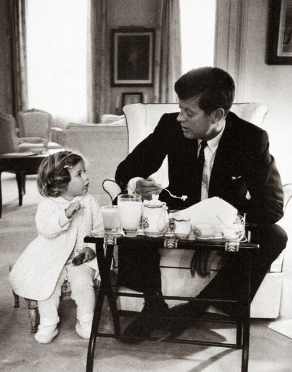 precious - John F. Kennedy with his daughter Caroline in 1960