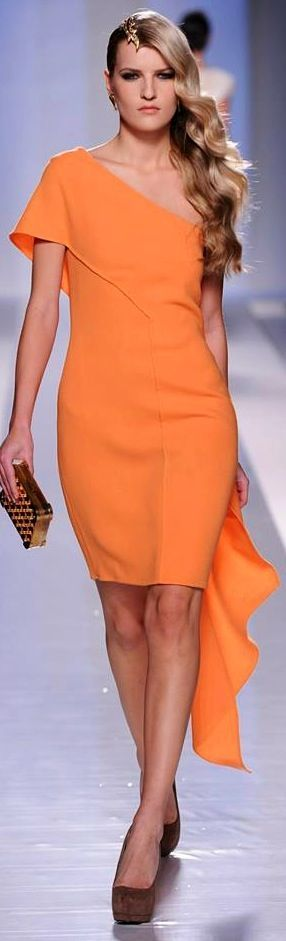 @roressclothes clothing ideas #women fashion orange dress Fausto Sarli Couture - S/S 2013:
