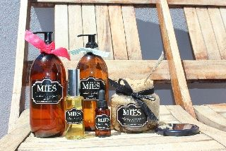 The classic MIES range:  brown sugar Body scrub, Hand oil, Cuticle drench, and Hand & body wash.