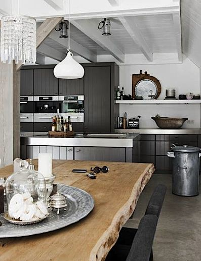 Modern Country Style - Grey toned cupboards with huge rustic timber dining room table