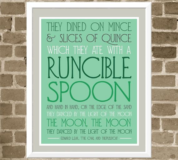 Runcible Spoon Quote Typography Print - 11x14 Aqua Kitchen Art - Mint Green Print- Edward Lear Owl and the Pussycat Poem Quote