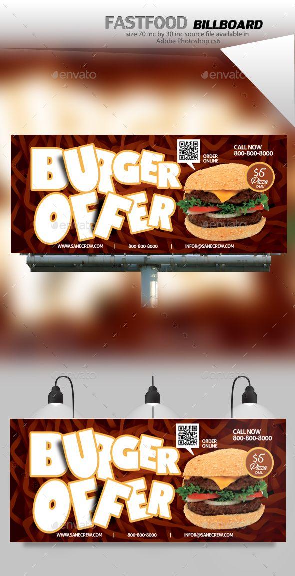 #Restaurant Fast #Food Billboard - #Signage Print Templates Download here: https://graphicriver.net/item/restaurant-fast-food-billboard/20111530?ref=alena994