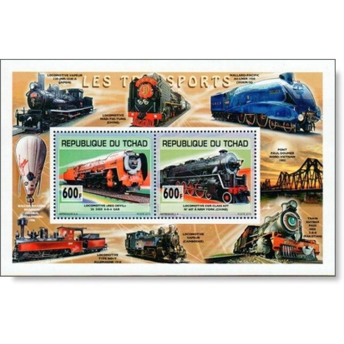 Alte Lokomotiven - Briefmarkenblock postfrisch, Tschad