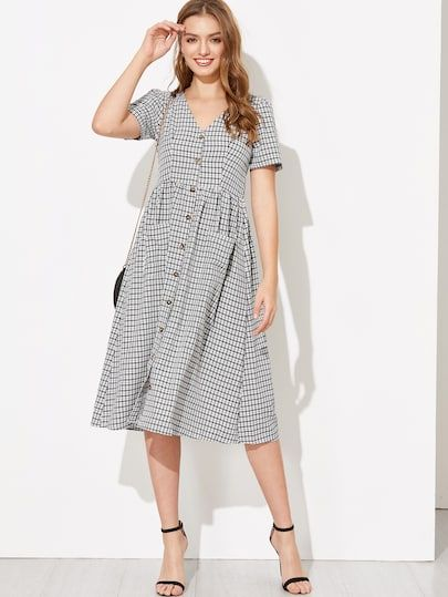 21aef3fa9 Pocket Front V Neck Plaid Shirt Dress | Kragen | Dresses, Shirt ...