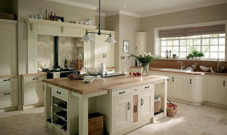 traditional style kitchens - Google Search - stunning shaker style kitchen, shown in a cream/ivory finish, with complementing pewter pulls