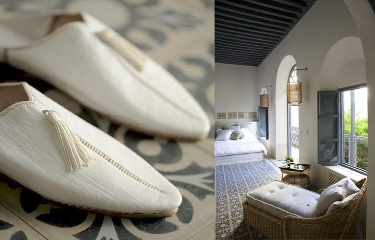 Palmeraie suite. Riad Tarabel, Marrakech Morocco. © Riad Tarabel Love the babouche!!