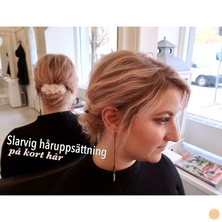 Messy hairdo with short, thin hair.