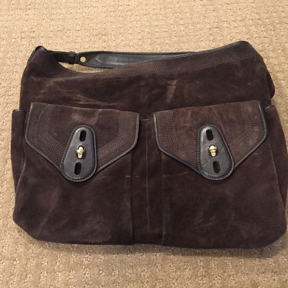 Cole Haan suede handbag Brown suede leather Cole Haan handbag. Excellent condition. Two front functioning pockets, slouchy drop from the shoulder. Cole Haan Bags Hobos