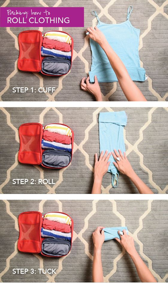A handy trick to roll clothing for packing and luggage cubes.
