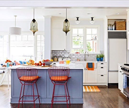 Kitchen Colors: Blue-Gray and Tangerine — Kitchen Inspiration
