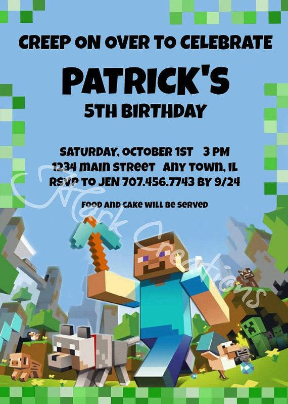 Mine craft Inspired Birthday Party Invitation by JHarkCreations