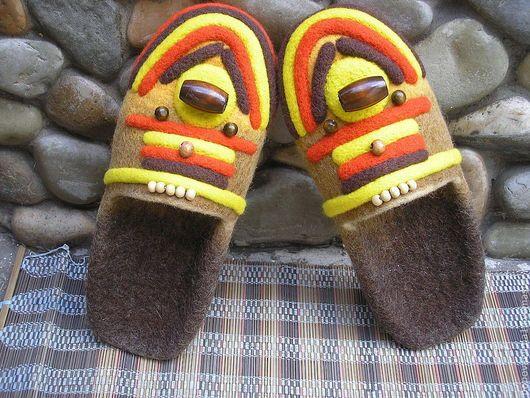 """Обувь ручной работы. Ярмарка Мастеров - ручная работа. Купить Тапочки """"Африка"""". Handmade. Домашние тапочки, валяные тапочки"""