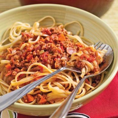 Linguines sauce express au veau et pancetta - Recettes 5-15 - Recettes express 5/15 - Pratico Pratique