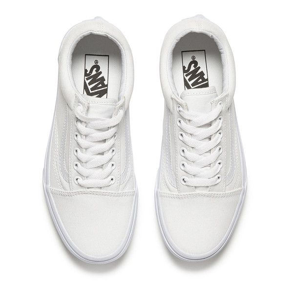 Vans Unisex Old Skool Canvas Trainers - True White found on Polyvore featuring shoes, sneakers, white lace up sneakers, white leather sneakers, skate shoes, canvas sneakers and leather low top sneakers
