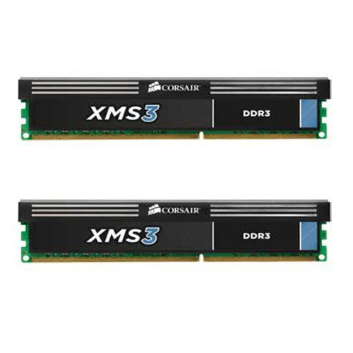 Corsair XMS3 8GB (2x4GB)  DDR3 1600 MHz (PC3 12800) Desktop Memory (CMX8GX3M2A1600C9). Backed by Corsairs Lifetime Warranty and excellent customer support. Outrageously fast 1600MHz performance using 8GB (2x4GB) of memory with SPD latency 9-9-9-24 at 1.65v. Two 4GB modules for use in high performance AMD and Intel Core i7, i5 and i3 Dual Channel systems XMS Heat Spreader. Ultra Stable Desktop Memory from Corsair ? the Leader in Performance Memory Solutions.
