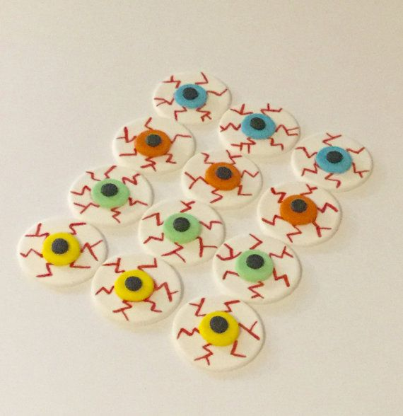 Check out Halloween Eyeballs! Fondant Cupcake, Cake, Cookie Toppers. Set includes 12 (1 dozen) on prettypartydetails