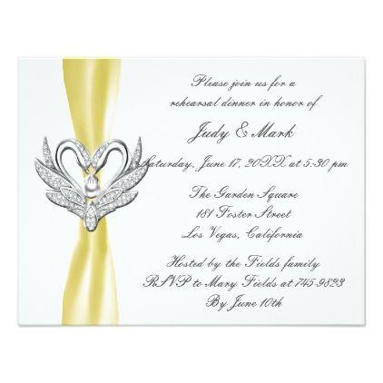 Yellow Ribbon Silver Swans Rehearsal Dinner Invite - invitations custom unique diy personalize occasions
