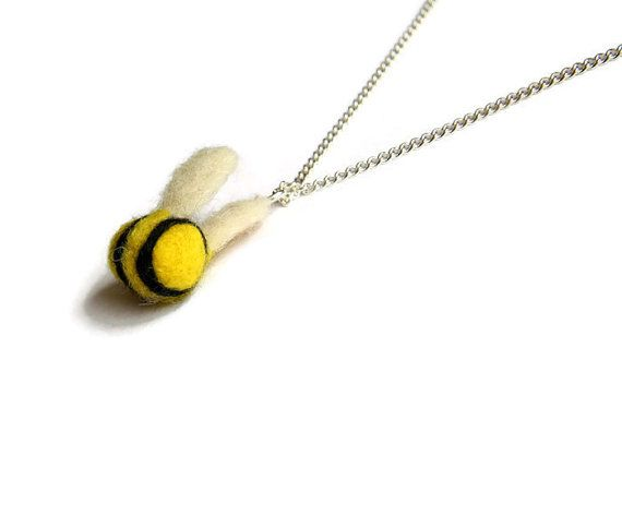 Mini Needle Felted Bumble Bee Necklace Insect by Middlemistmakes1