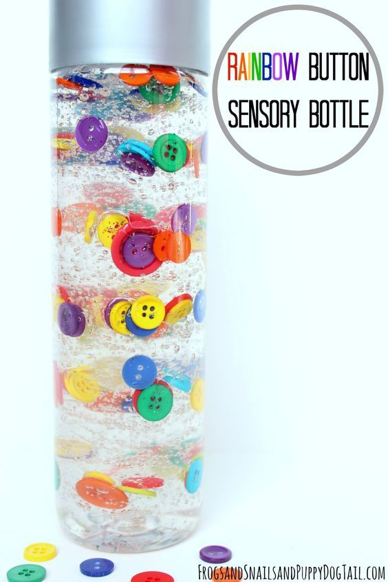 DIY rainbow button sensory bottle. Fun sensory idea for kids.