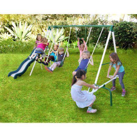 Sportspower Live Oak Metal Swing and Slide Set