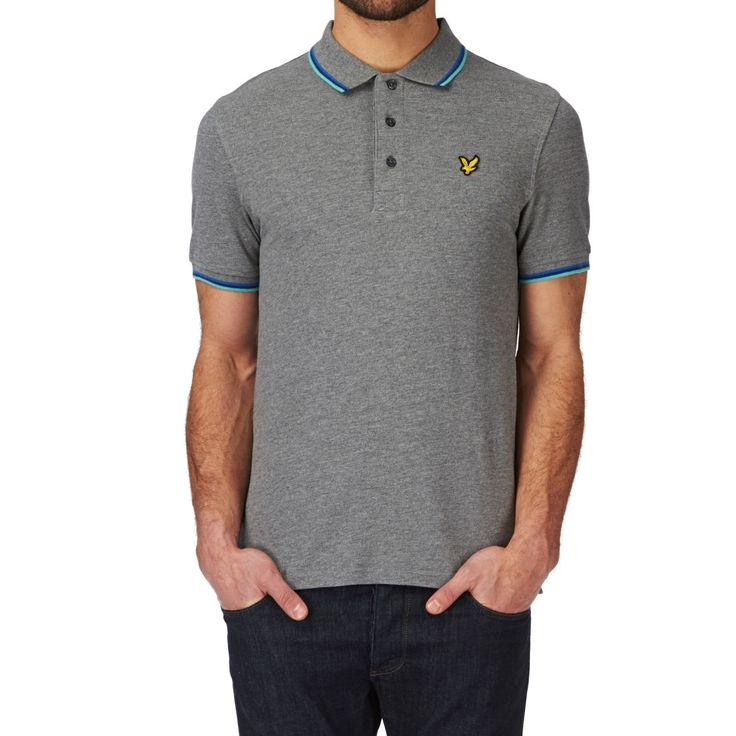 Lyle & Scott Tipped Pique Polo Shirt - Mid Grey Marl